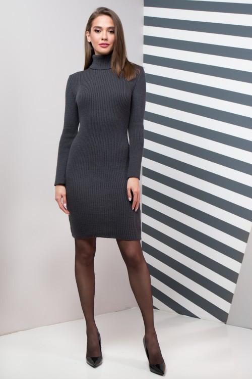 Женское платье приталенное Basic графит
