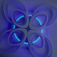 Светодиодная люстра с пультом-диммером и цветной подсветкой белая 8059-4+4, фото 1