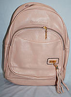 Женский пудровый рюкзак из искусственной кожи 27*33 см (2 отдела), фото 1