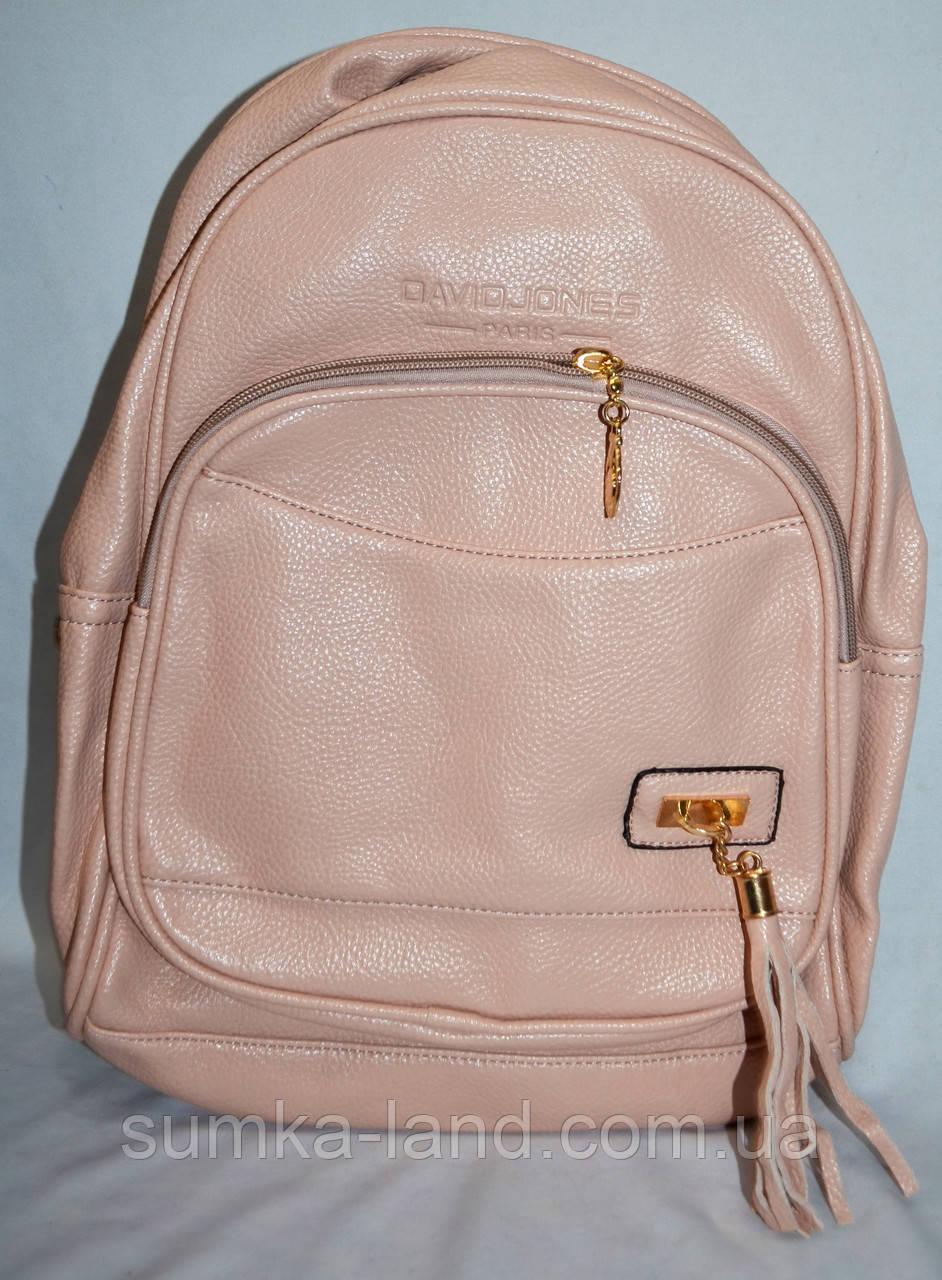 Женский пудровый рюкзак из искусственной кожи 27*33 см (2 отдела)