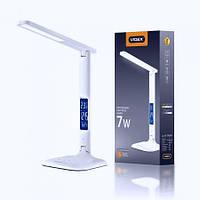 LED лампа настольная VIDEX 7W 3000-5500K 220V с часами и сенсорной регулировкой яркости и цвета свечения