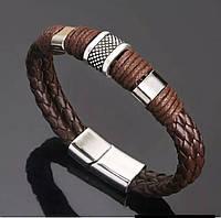 Плетенный мужской стильный браслет «Africa» с металическими вставками (кофейный)