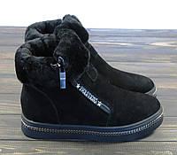 Женские зимние ботинки замшевые черные Allshoes, фото 1
