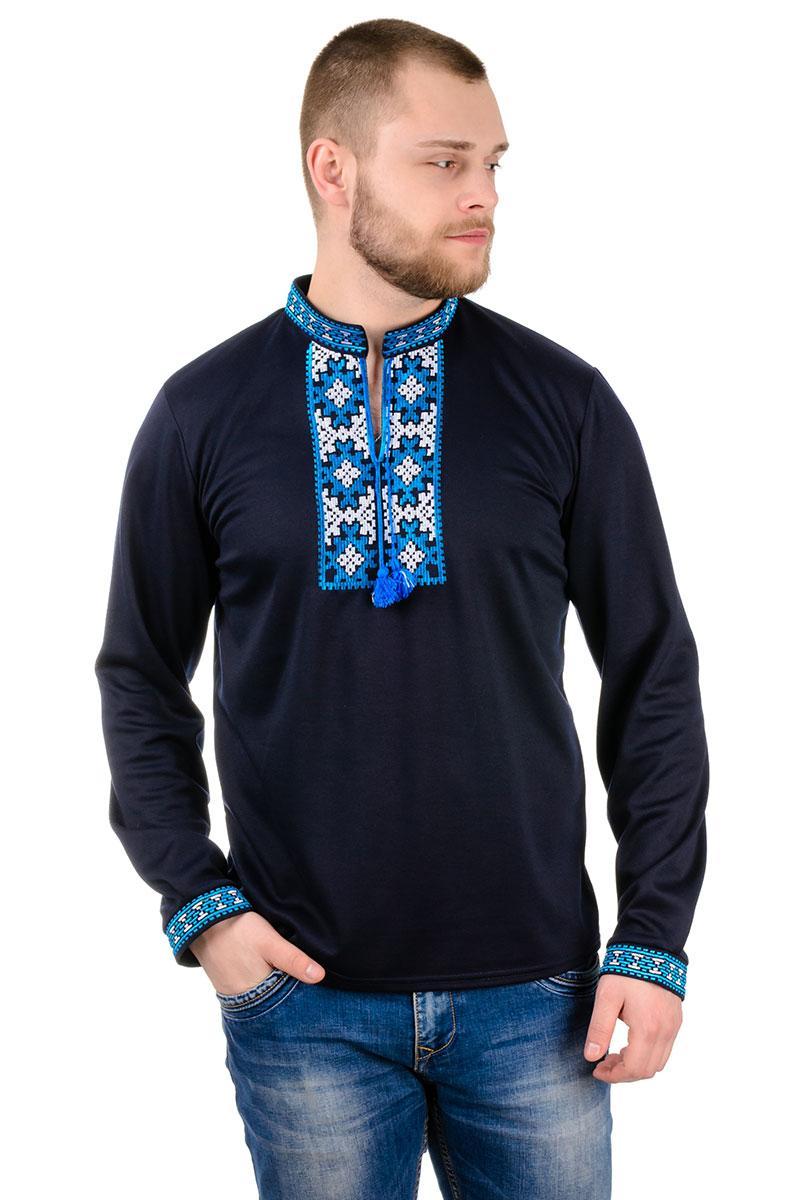 Трикотажный свитшот вышиванка темно-синий