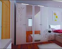 Шкаф Богема белая 4ДВ с зеркалами, фото 1