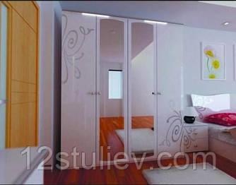 Шкаф Богема белая 4ДВ с зеркалами