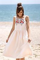 Летнее вышитое платье кремового цвета с орнаментом из цветов, фото 1