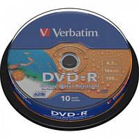 Диски DVD-R Verbatim 4.7Gb 16X WIDE GLOSSY WATERPROOF PRINTABLE SURFACE 10шт (43763)