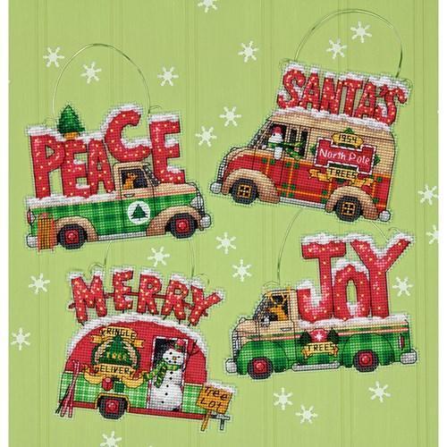 Набор для вышивки крестиком DIMENSIONS Holiday Truck Ornaments Праздничные грузовички 70-08974