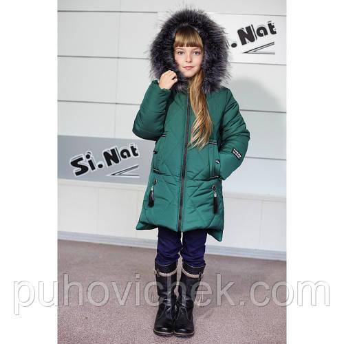 Модная зимняя куртка пуховик для девочки на подстежке меховой