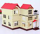 Большой домик Happy Family 012-10 Животные флоксовые (аналог Sylvanian Families) Светится люстра, фото 2