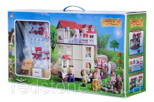 Большой домик Happy Family 012-10 Животные флоксовые (аналог Sylvanian Families) Светится люстра