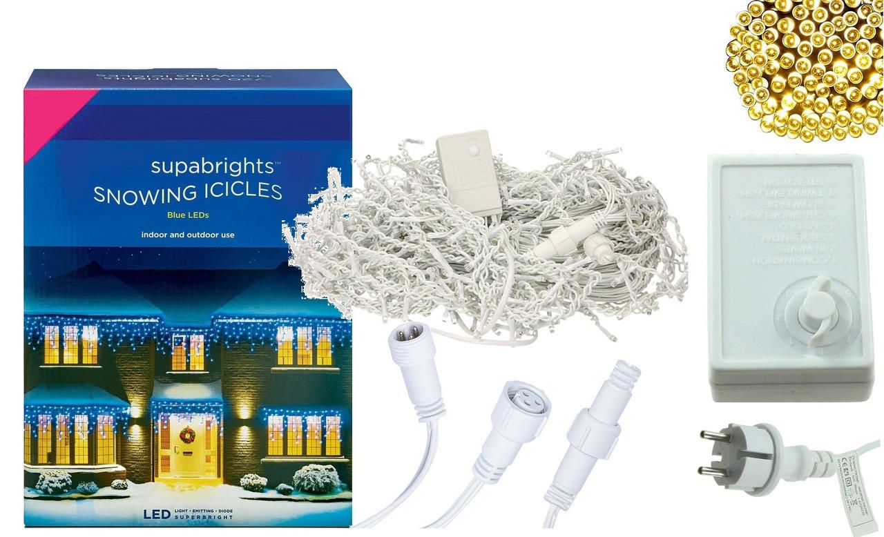 Новогодняя гирлянда Бахрома 500 LED, Белый теплый свет 24 м, 22,5W, фото 1
