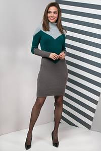 Женское платье повседневное Эльза (серый, изумруд, графит)