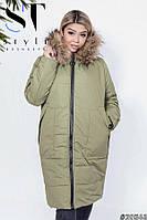 Теплое зимнее пальто на меху с капюшоном с 48 по 54 размеры, фото 1