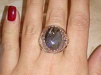 Лабрадор кольцо с натуральным лабрадоритом в серебре 21 размер, фото 1