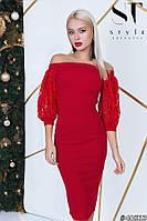Елегантне плаття-міді з пишними рукавами з еластичного гіпюру, вирізом-човник червоний розмір 44 46 48