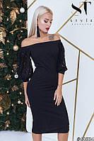Елегантне плаття-міді з пишними рукавами з еластичного гіпюру, вирізом-човник чорний розмір 44 46 48