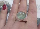 Пренит кольцо круглое с натуральным пренитом в серебре 20.5 размер Индия, фото 3