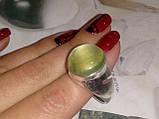 Пренит кольцо круглое с натуральным пренитом в серебре 20.5 размер Индия, фото 4