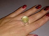 Пренит кольцо круглое с натуральным пренитом в серебре 20.5 размер Индия, фото 2