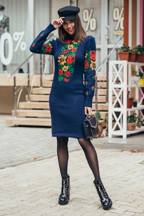 Вязаное теплое платье женское Рябина