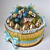 """Торт из конфет """"Рождественский"""" бирюзовый."""