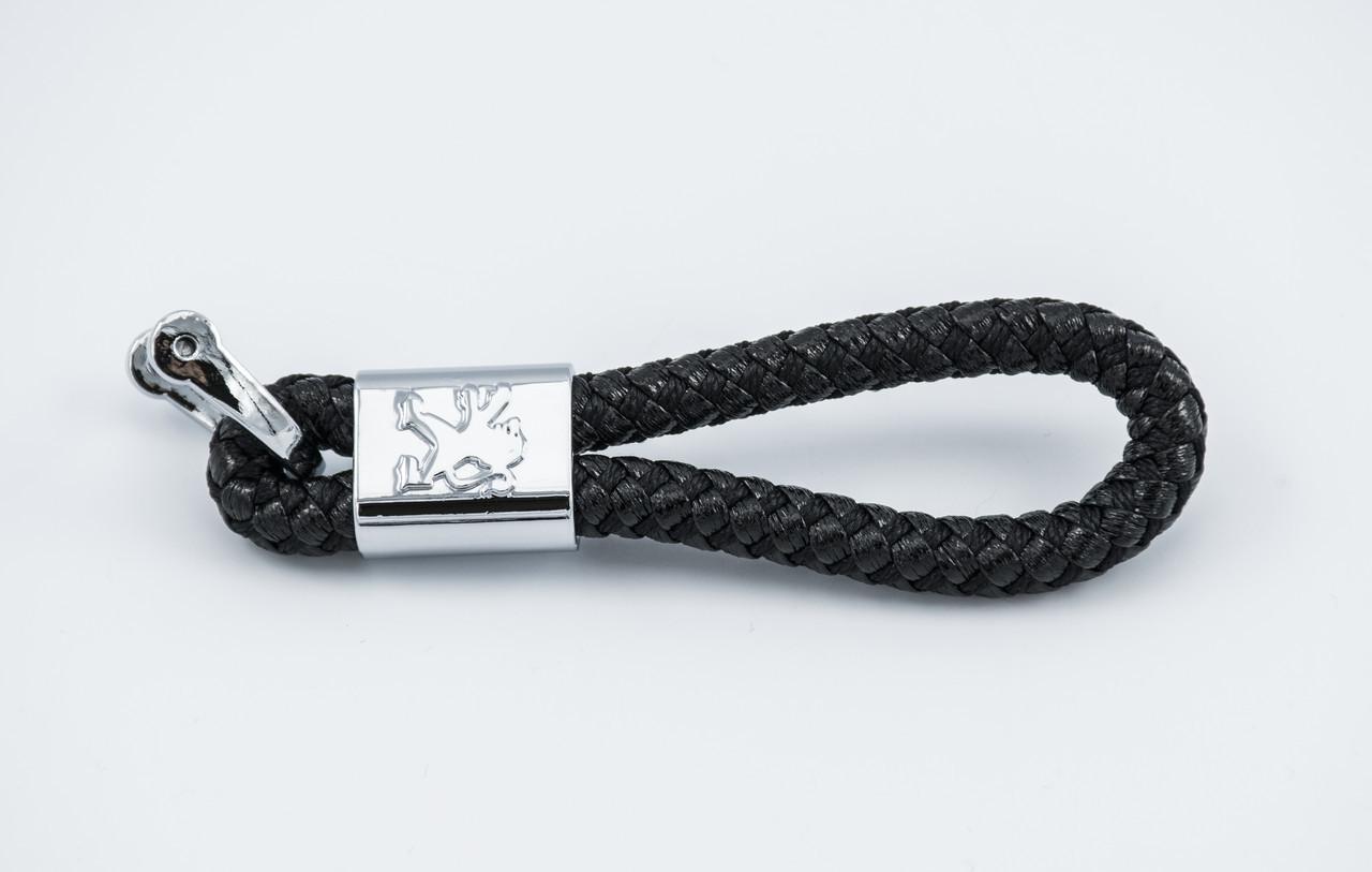 Брелок з логотипом PEUGEOT, плетений берлок з логотипом пежо для автомобіліста + карабін/чорний