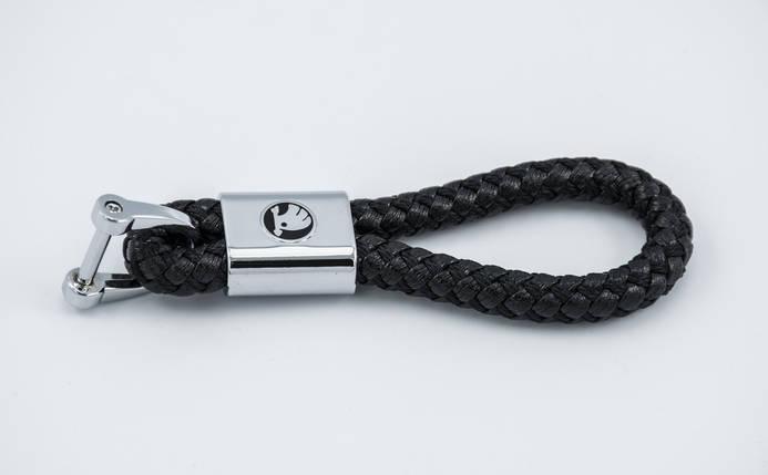 Брелок с логотипом SKODA, плетеный берлок с логотипом шкода для автомобилиста + карабин/черный, фото 2