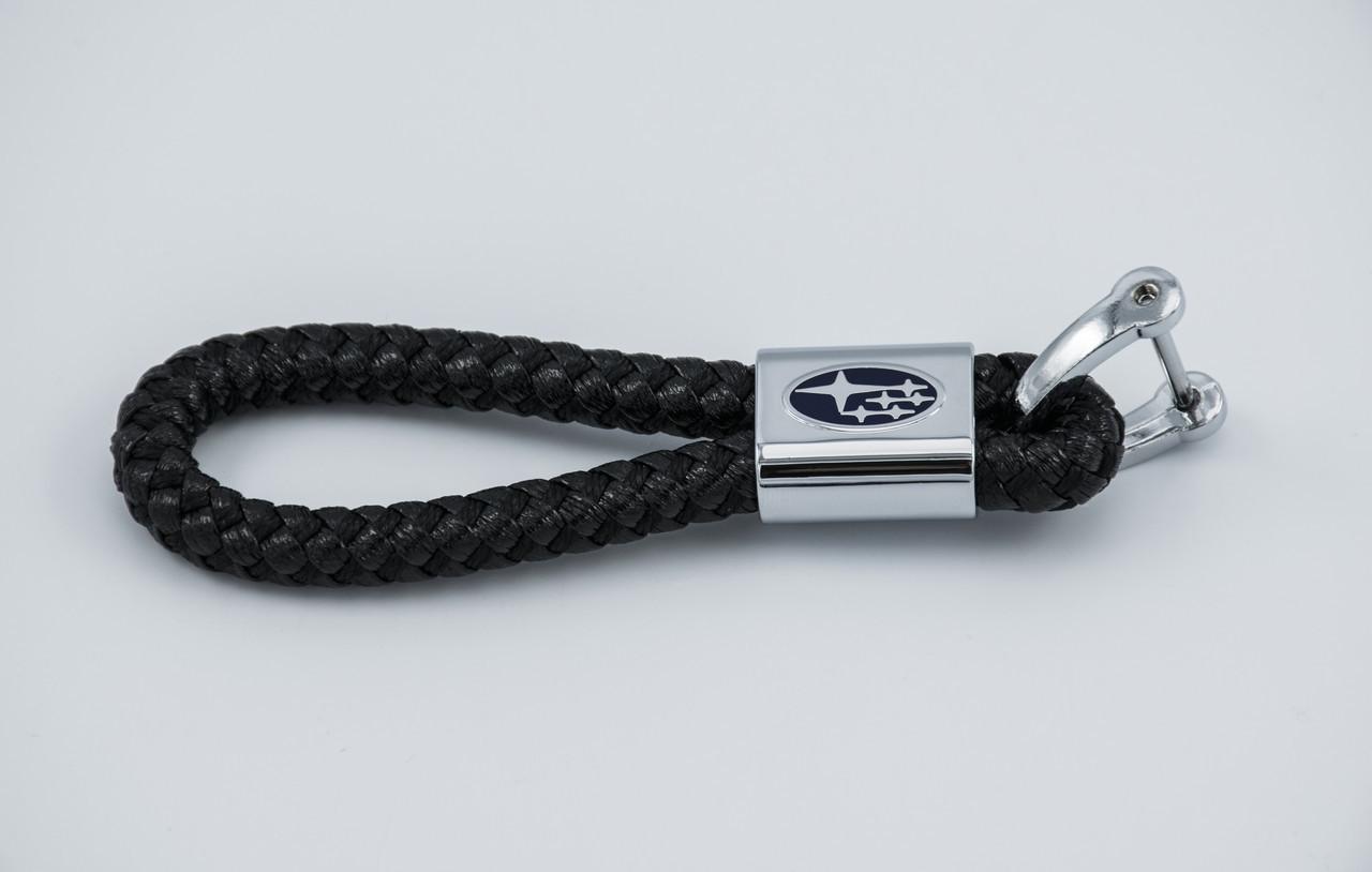 Брелок с логотипом SUBARU, плетеный берлок с логотипом субару для автомобилиста + карабин/черный