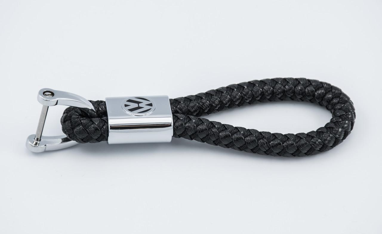 Брелок с логотипом VOLKSWAGEN, плетеный берлок с логотипом фольцваген для автомобилиста + карабин/черный