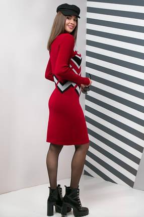 Вязаное платье женское под горло Злата (вишня, серый, черный), фото 2