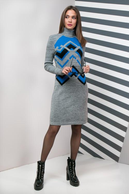 Вязаное платье женское под горло Злата (серый меланж, электрик, черный)