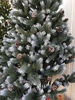 Ель Литая зеленая с белыми кончиками и шишками 1.1 м