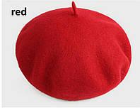 Женский классический берет красного цвета, фото 1