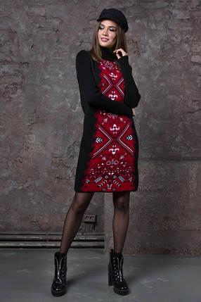 Жіноча сукня Ольга (чорний, вишня), фото 2