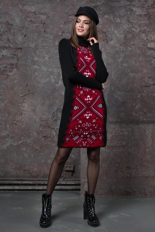Платье женское шерстяное Ольга черный-вишня