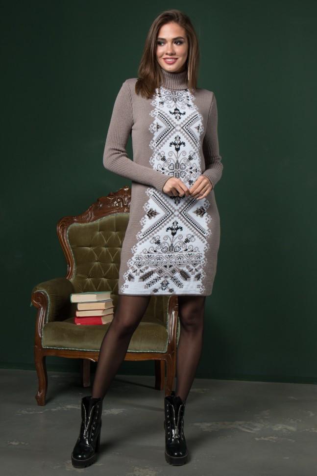 Платье трикотажное Ольга капучино-белый