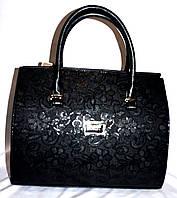 Женская черная каркасная сумка с узором 33*26 см, фото 1