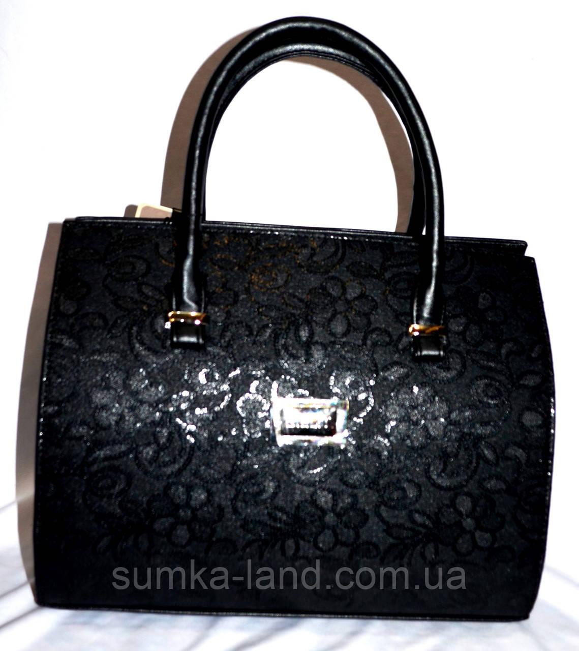 Женская черная каркасная сумка с узором 33*26 см