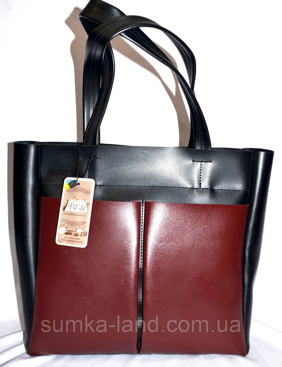 Женская комбинированная элитная сумка B Elit с двумя карманами 32*33 (черная с бордо)