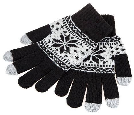 Перчатки для сенсорных экранов Touch Gloves Snowflake black-white (черно-белые)