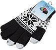 Перчатки для сенсорных экранов Touch Gloves Snowflake black-white (черно-белые), фото 2