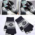 Перчатки для сенсорных экранов Touch Gloves Snowflake black-white (черно-белые), фото 3