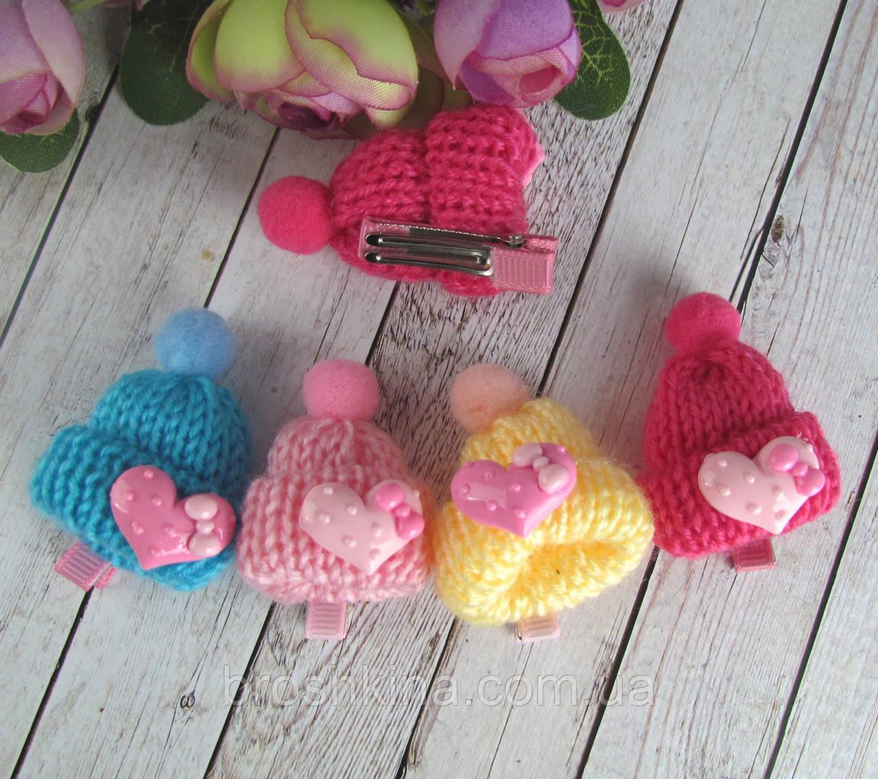 Заколки для волос детские с вязаной шапочкой 10 шт/уп