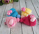 Заколки для волос детские с вязаной шапочкой 10 шт/уп, фото 2