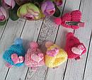 Заколки для волос детские с вязаной шапочкой 10 шт/уп, фото 4