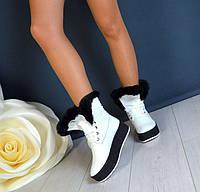 Зимние женские ботинки на меху кожаные опушка под мутон TOPs1300