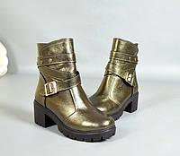 Зимние женские ботинки на каблуке кожаные цвета разные TOPs1303