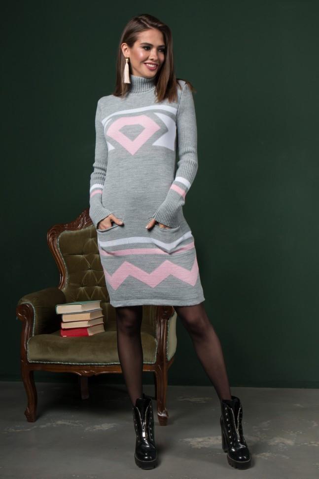 Теплые вязаные платья Диамант светло-серый -розовый-белый